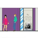 Sintermeerten inhammen deurbestickering paars en marmoleum aanzichten